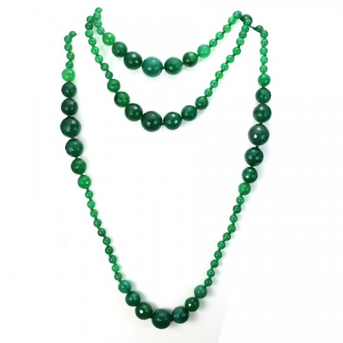 Necklace green agate 140cm