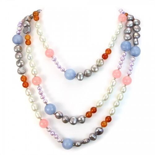 Necklace Freshwater Pearl&jade treat&rose quartz&carnelian 140cm