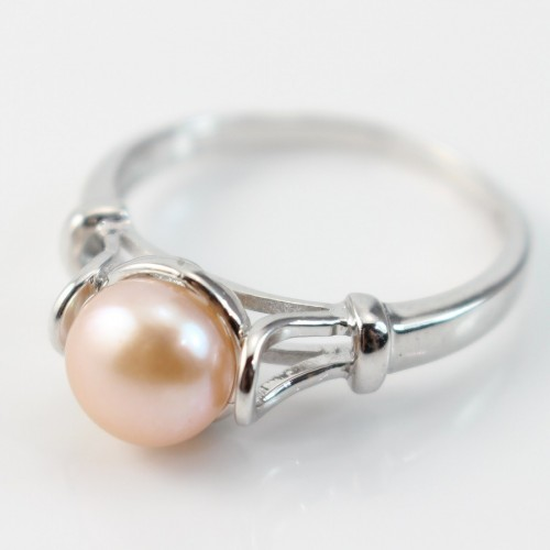 Sterling silver ring with salmon freshwater pearl x 1pc