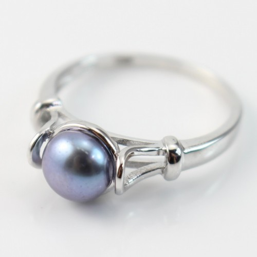 Sterling silver ring with freshwater cultured pearl x 1pc