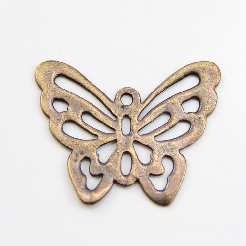 Butterfly  Filigreed bronze tone 25x30mm x 1pc
