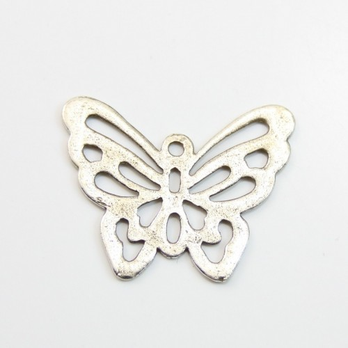 Butterfly  Filigreed silver tone 25x30mm x 1pc