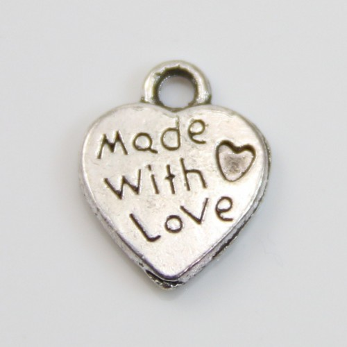 Heart charms silver 10x12.5mm x 4pcs