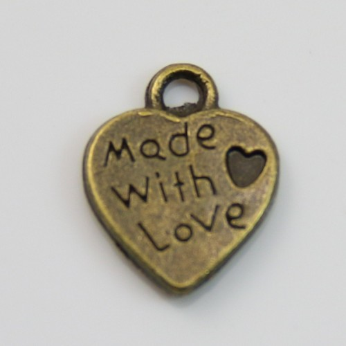 Heart charms bronze 10x12.5mm x 4pcs