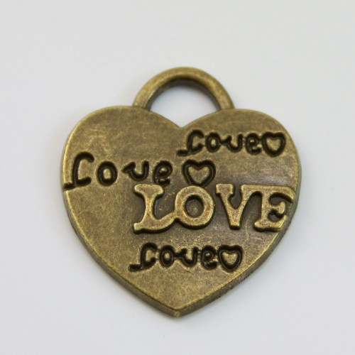 Charm heart & love bronze tone 22*24mm x 1 pc