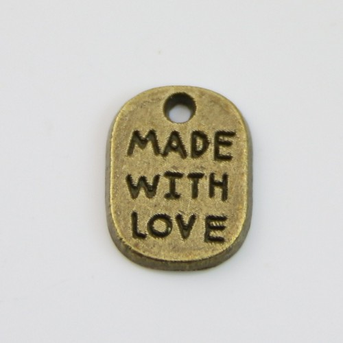 Charms message made with love bronze 8*11mm x 4pcs