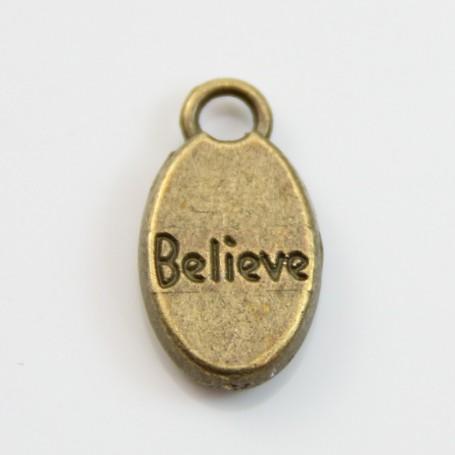 Breloques message believe bronze 9*15mm x 4pcs