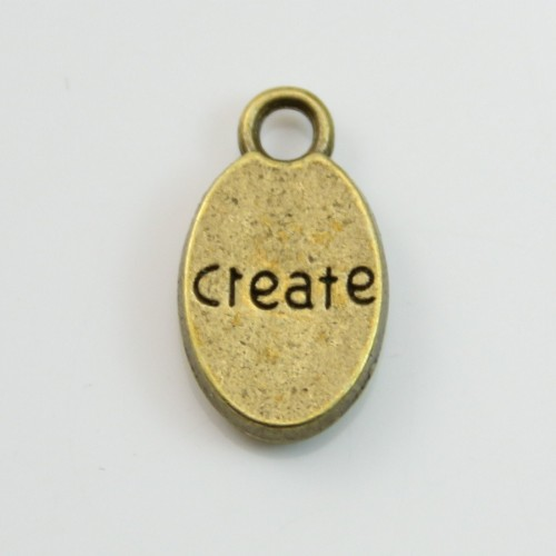 Charms message create bronze 9*15mm x 4pcs