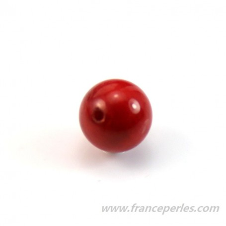 Sea bamboo red, half drilled, round 8mm x 1pc