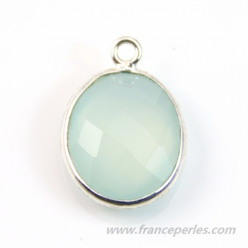Chalcedony set in plated silver oval 11x13mm x1pc