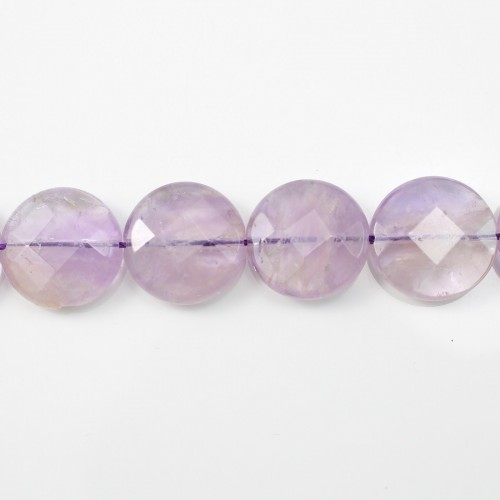 Clear Amethyst Faceted Flat Round 24mm x 40cm