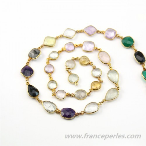 Gold Plated Silver Chain with Mixed Stones of 7mm x 20cm