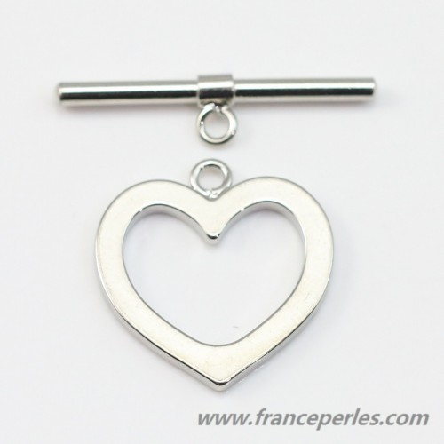 Toggle clasp heart 16 * 17 * 24 rhodium plated x1