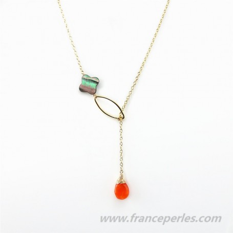 Necklace cornelian and gray shell gold filled 14 carats