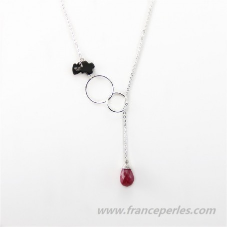 Necklace ruby and black agate with chaine sterling silver 925