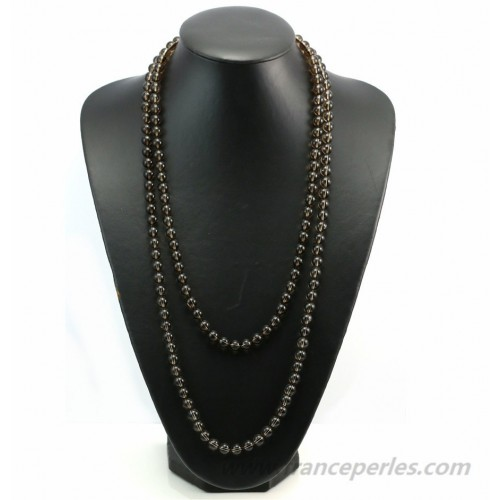 Necklace smoky quartz round 8mm  140cm