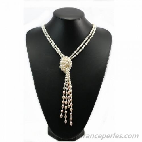 Sautoir free style perles d'eau douce 120cm