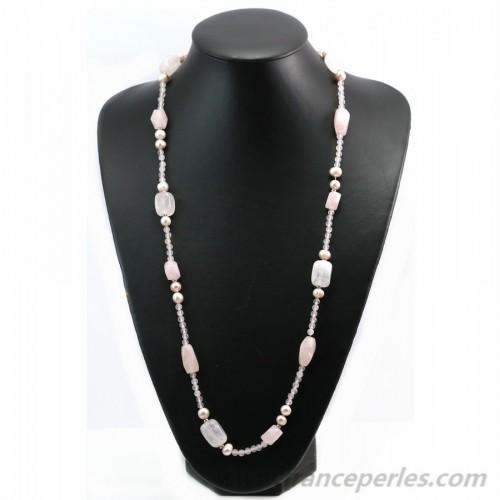 Sautoir quartz rose 90cm