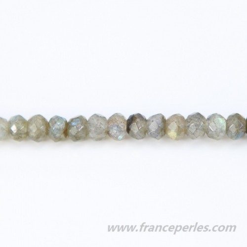 Labradorite faceted flatened round beads on thread 2x4mm x 40cm