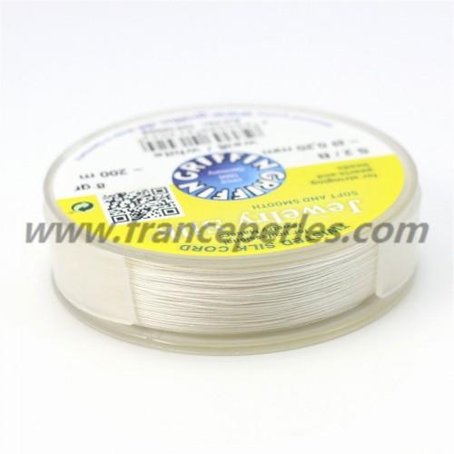 Fil de soie 0.20mm blanc x 200m