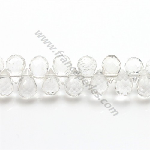 Rock Crystal Quartz Faceted drop 4-5 *7-8mm X 1 pcs