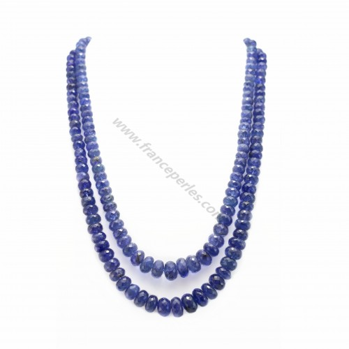 Necklace tanzanite faceted rondelle 2 strands