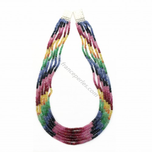 Necklace ruby sapphire emerald slice facet 5 strands 3-4mm