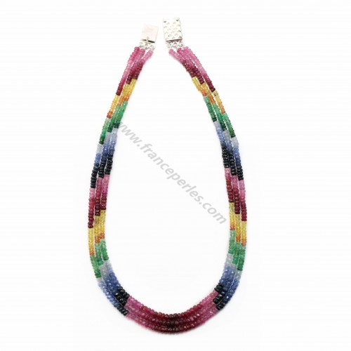Collier  3 rangs rubis saphir émeraude rondelle facette 3-4mm