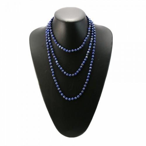 Long necklace lapis lazuli round 6mm 150cm