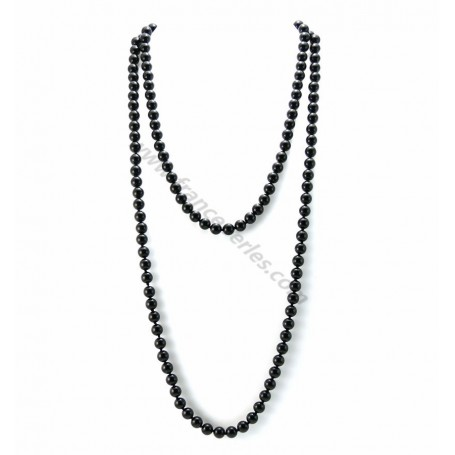 long collier perle noire