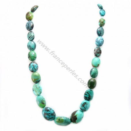 Turquoise blue simple oval necklace