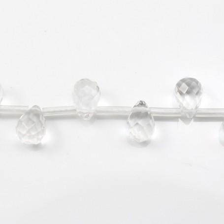 Rock Crystal Quartz Faceted drop 6*9mm X 4 pcs