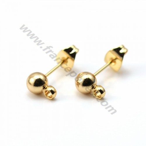 Flash gold plated ball-shape ear studs 3mm x 2pcs