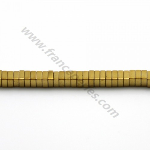 Hematite gold plated lamellar square 1x3mm x 40cm