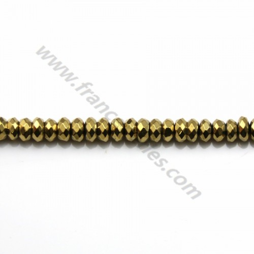 Golden hematite rondelle faceted 2x4mm x 10pcs