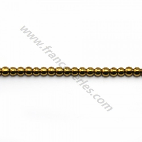 Hématite gold plated round 2mm x40cm