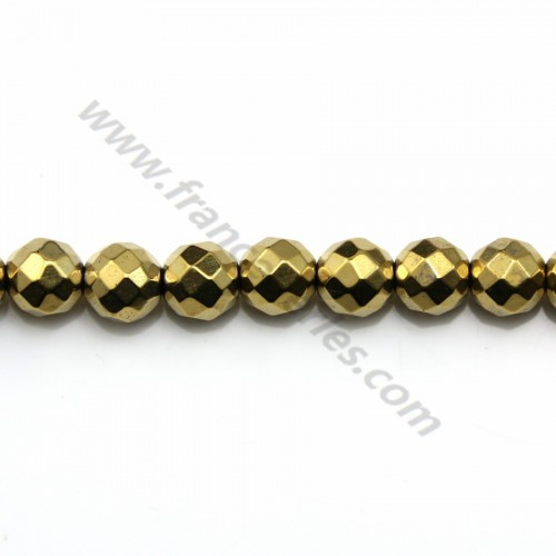 Hematite gold plated faceted round 8mm x 40 cm