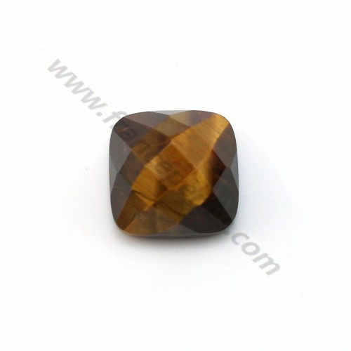 Cabochon eye tigre faceted square 10mm x 1pc