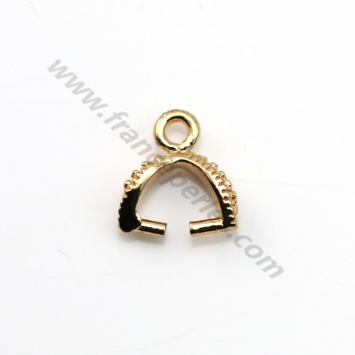 "Veneer Pendant by ""flash"" Gold on brass 4*9.5mm x 5pcs"