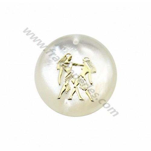 Pendant Gemini mother of pearl 20mm x 1pc