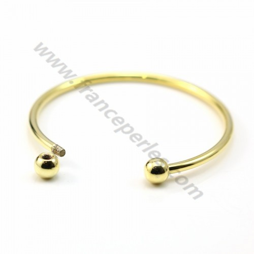 "Jonc bracelet for half-driled beads 60mm plated by ""flash"" gold on brass x 1pc"