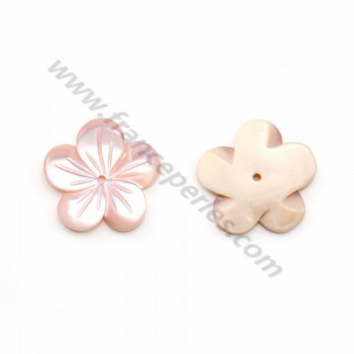 Pink mother-of-pearl 5 petal flower 15mm x 1pc