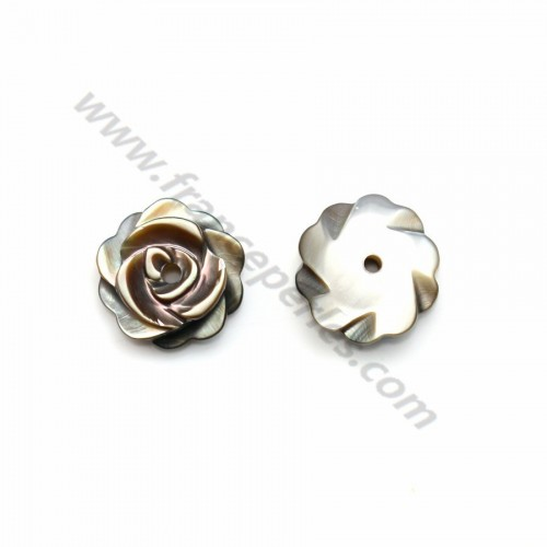 Gray mother-of-pearl flower 8mm x 1pc