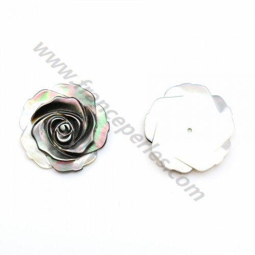 Gray mother-of-pearl half drilled rose 25mm x 1pc