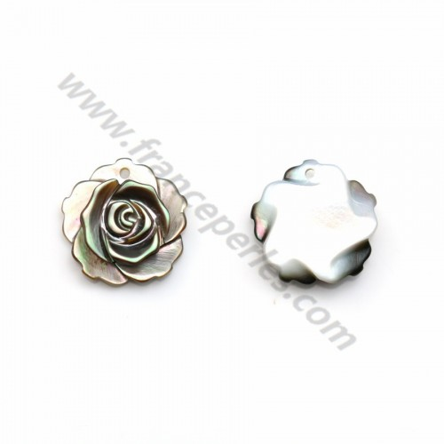 Gray mother-of-pearl rose 12mm x 1pc