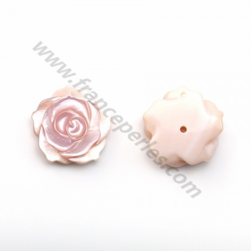 Pink mother-of-pearl half drilled rose 15mm x 1pc