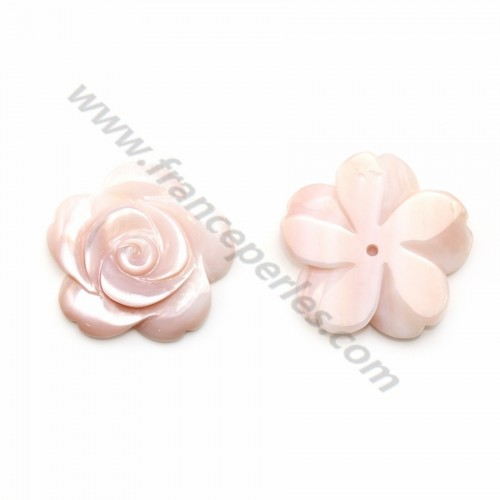 Pink half-drilled mother-of-pearl flower 20mm x 1pc