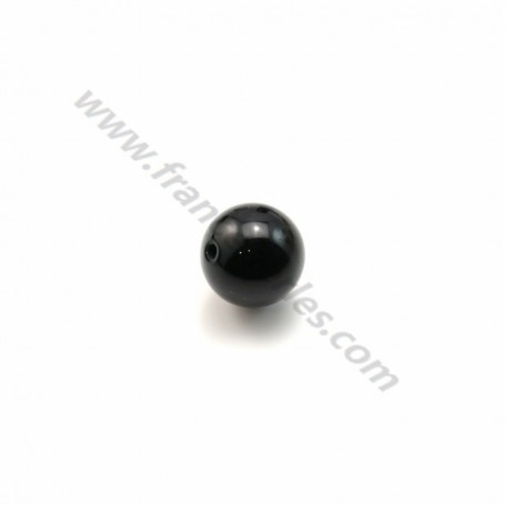 Onyx, half drilled, round 6mm x 1pc