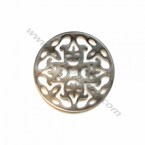 Gray round mother-of-pearl with openwork 18mm x 1pc