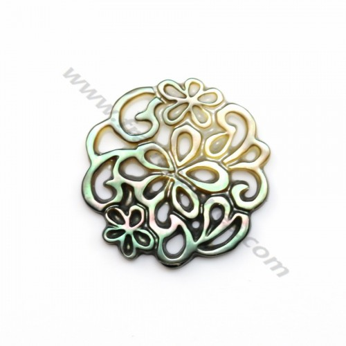 Gray mother-of-pearl floral pattern with openwork 18mm x 1pc